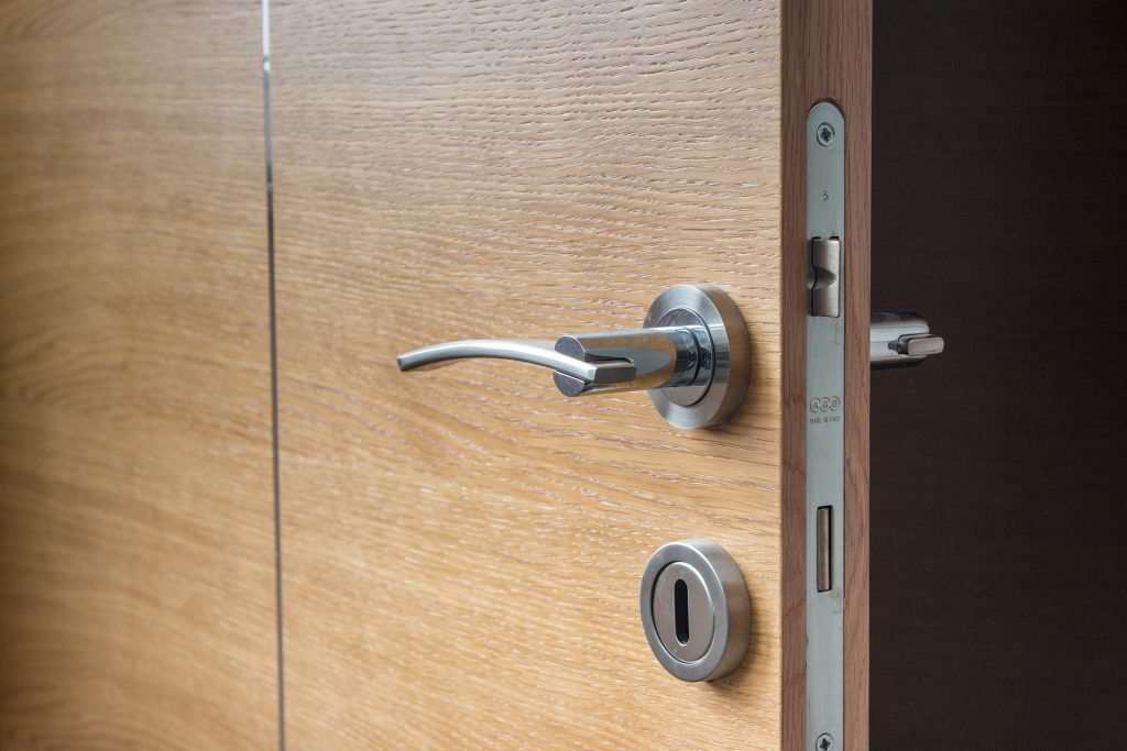 Open hotel door with lock system