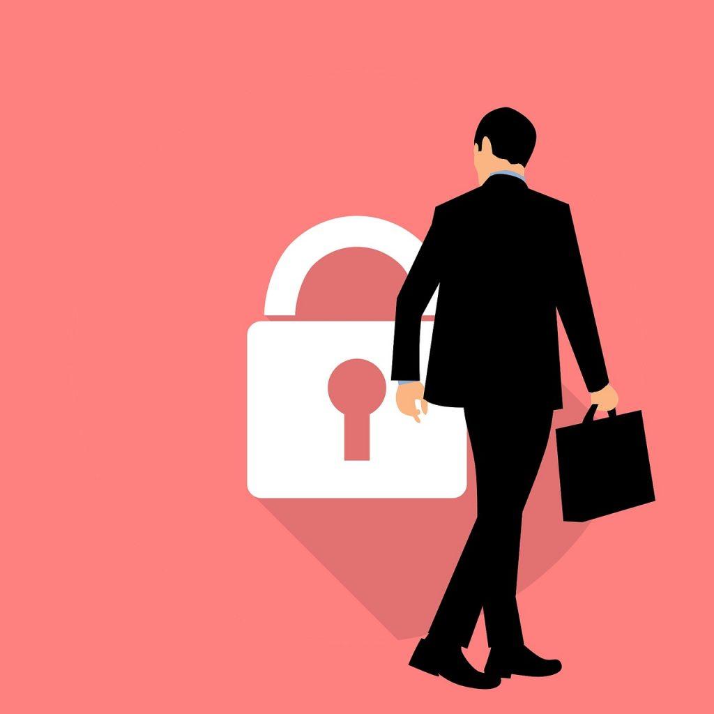Animated man looking at lock symbol