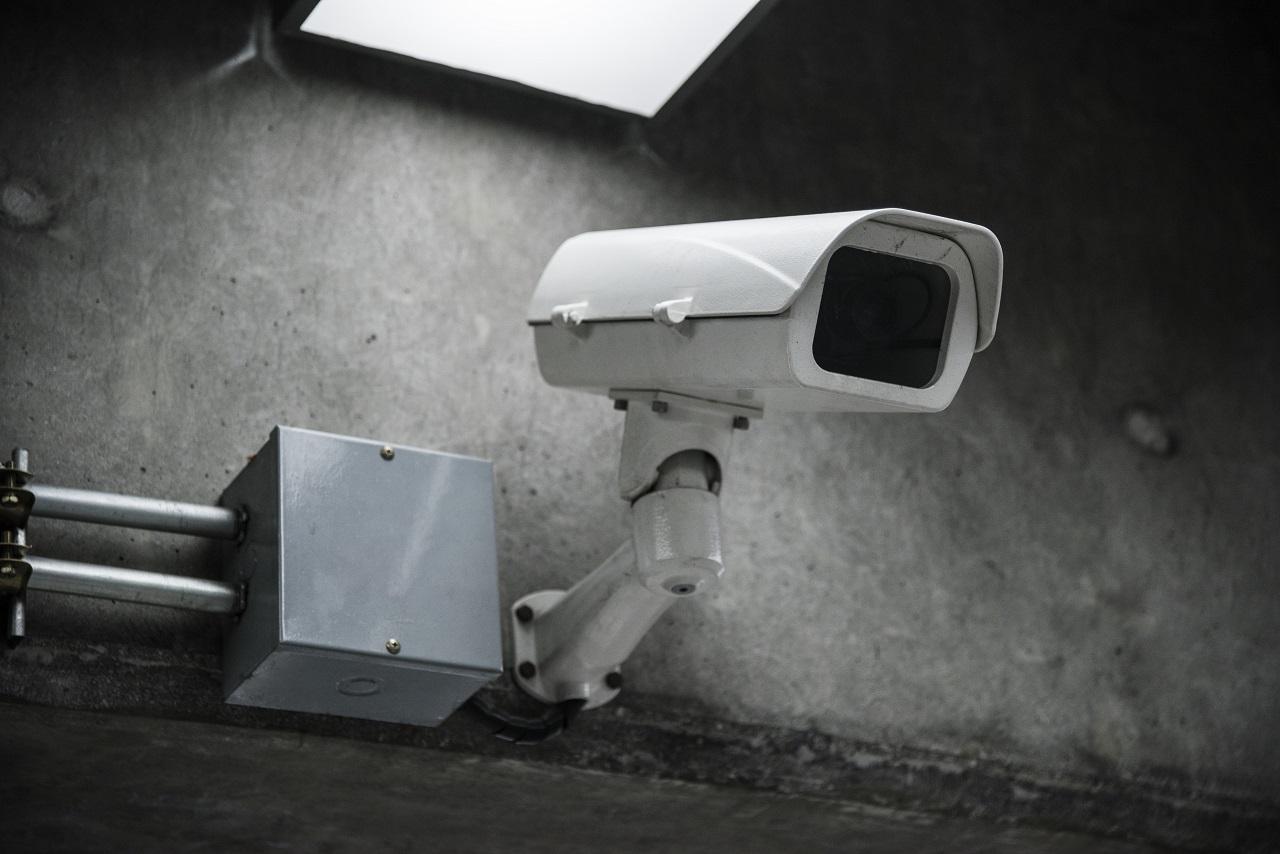 A CCTV camera on a wall