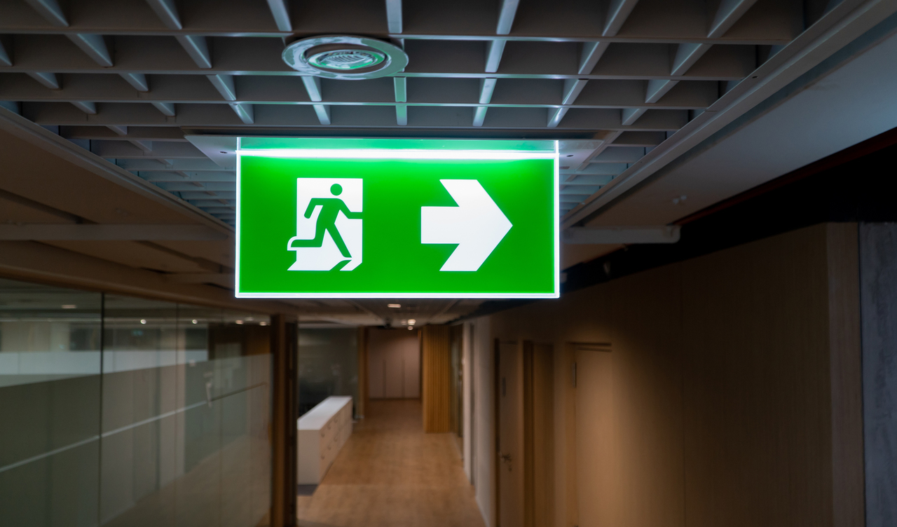Close up of a fire exit sign
