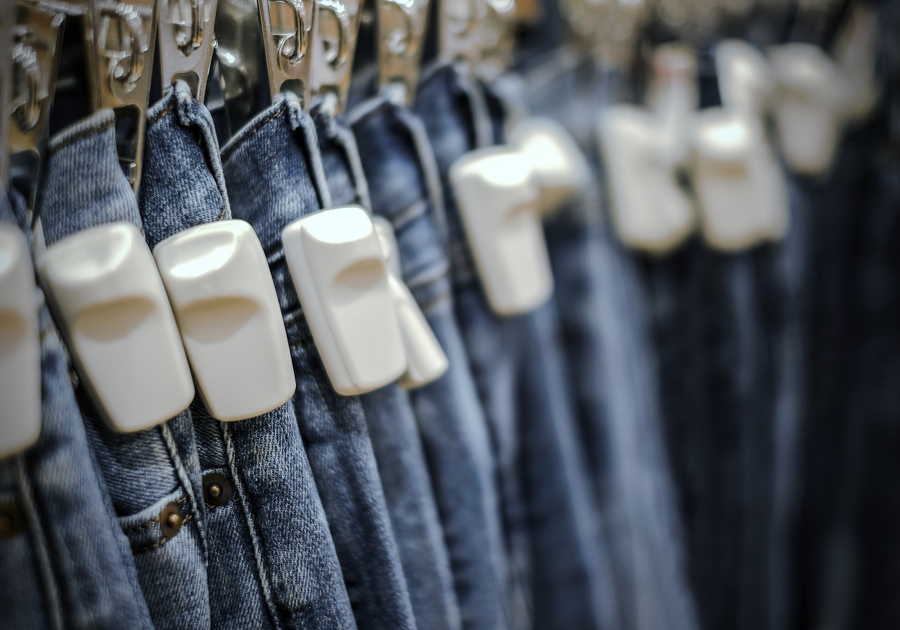 RFID hard tag attached to blue jeans