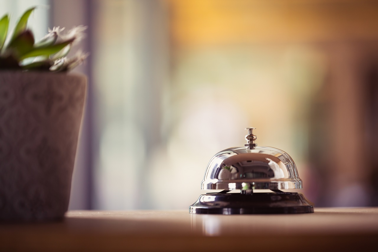 Close up of a bell on a hotel countertop