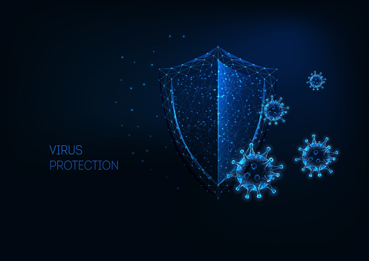 Graphics of a shield and viruses