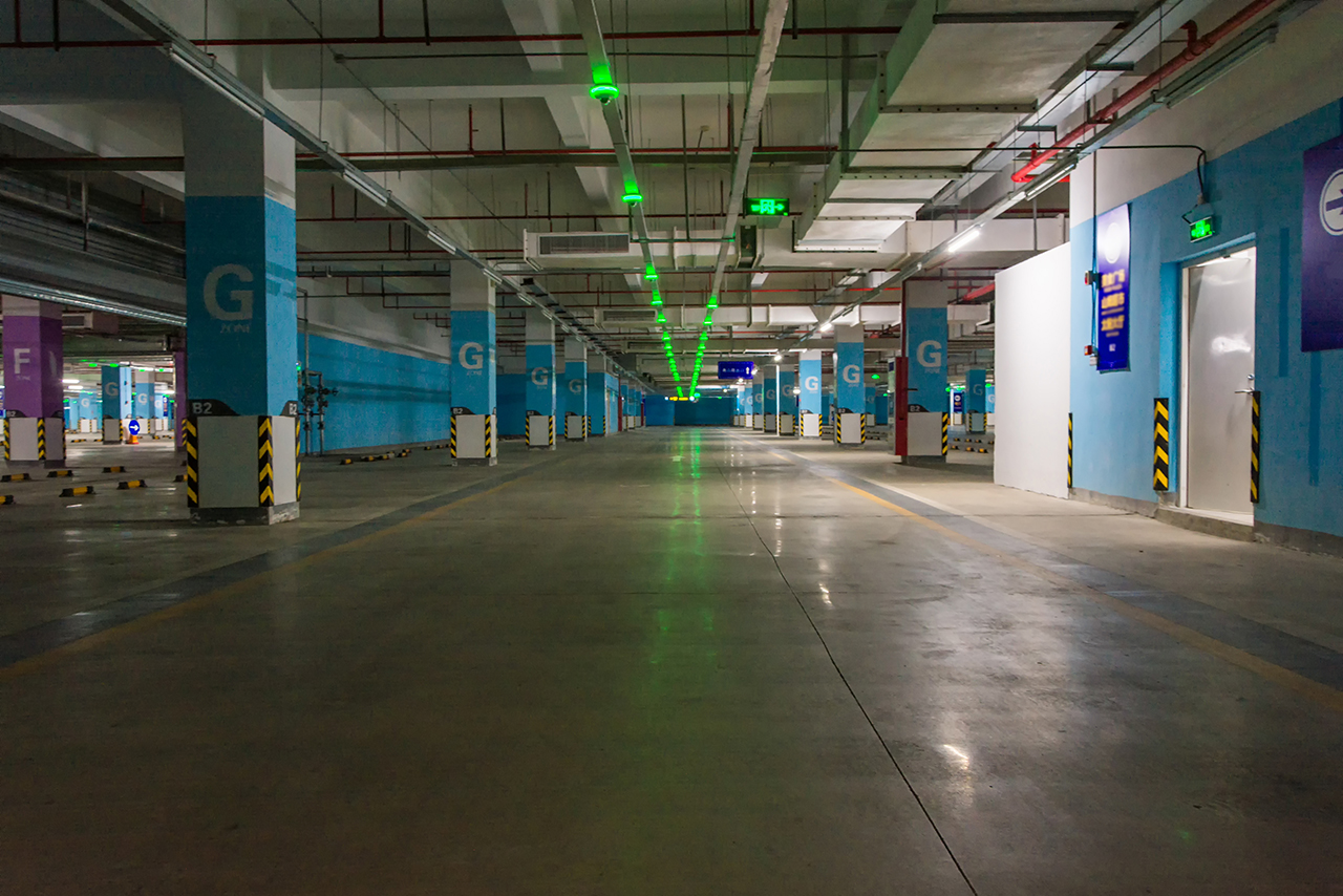 A parking lot with intelligent parking solutions