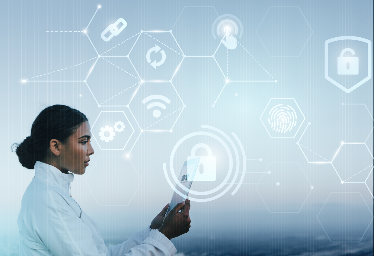 A woman accessing company information through the cloud