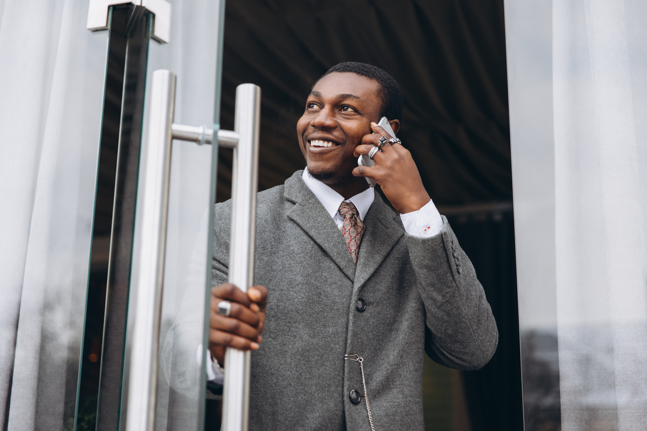 A businessman exiting his office