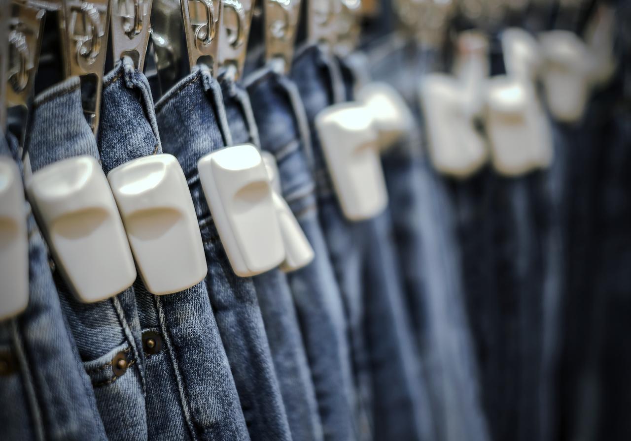 RFID Tag on Blue Jeans