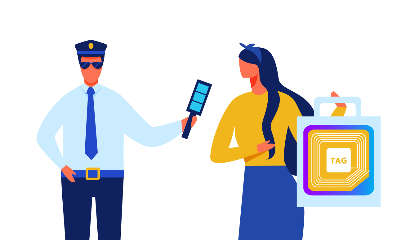 A police officer stopping mall theft with RFID