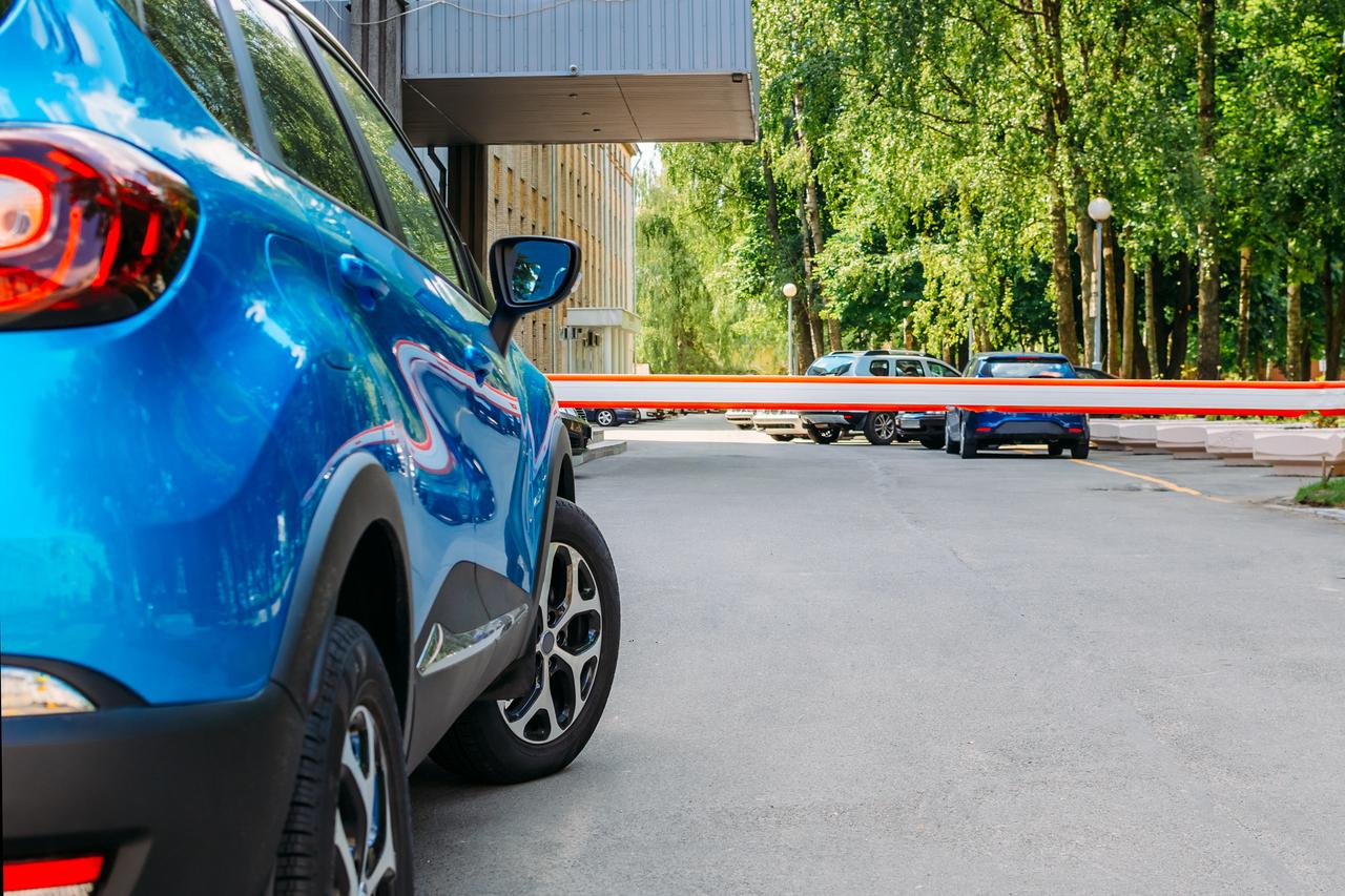 A car entering a car park