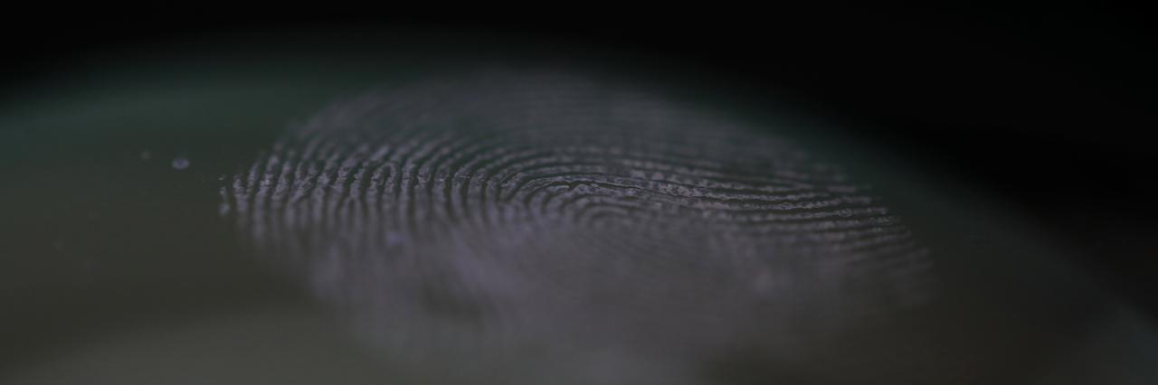 A fingerprint mark left on a scanner