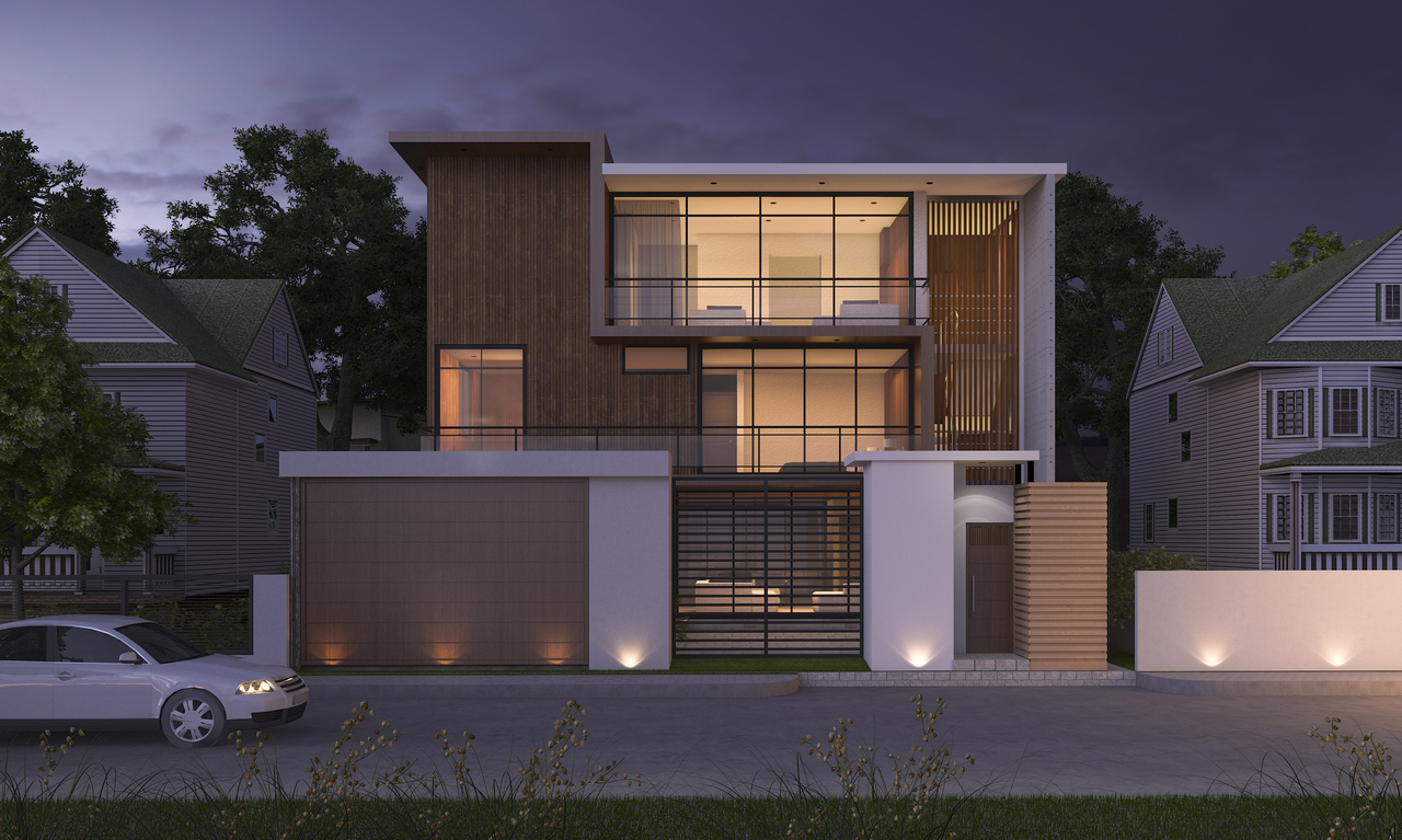 A house with smart lighting