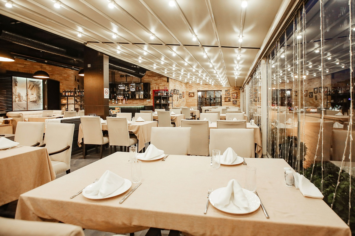 restaurant hall with lots of table
